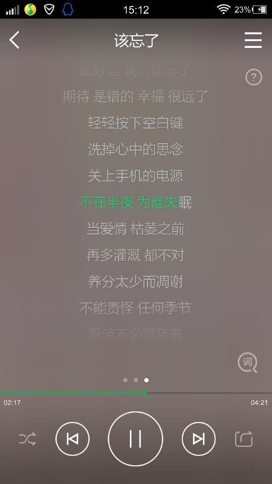 该忘了-郭采洁(MP3歌词/LRC歌词) lrc歌词下载 第1张