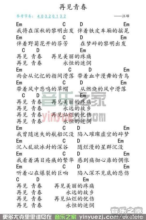 再见青春-汪峰(MP3歌词/LRC歌词) lrc歌词下载 第1张